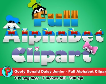 Goofy Donald and Daisy Junior - Full Alphabet Clipart - 191 png files 7 inches tall 300 dpi - Instant Download