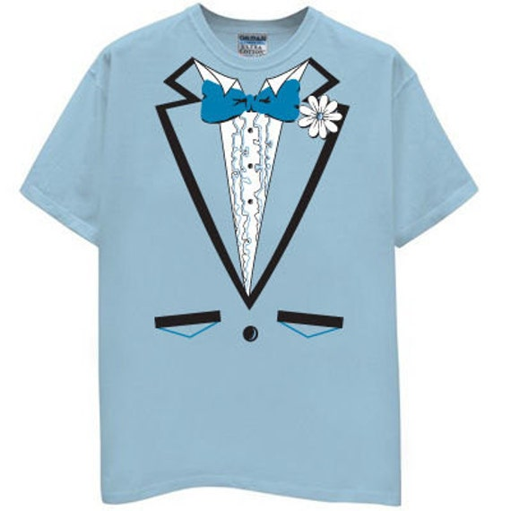 Light Blue Tuxedo T Shirt Wedding Party funny bachelor classy