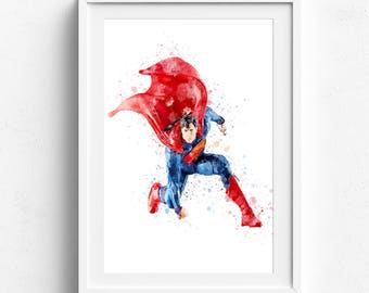 Superman poster, superman watercolor, superman painting, superman gift, super hero poster, digital poster, watercolor superman, custom art