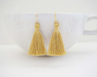 Mustard and Gold Tassel Earrings