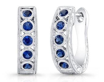 14k white gold, Genuine Blue Sapphire Earring