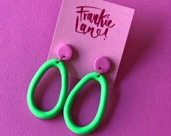 Green Loop Dangle Earrings Polymer Clay Statement Earrings - Handmade - Frankie Lane