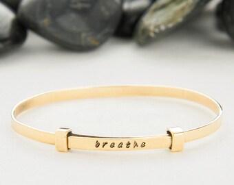 Breathe, Yoga, Just Breathe, bracelet, Jewelry, bangle, cuff, bangle bracelet, personalized bracelet, Yoga bracelet, B252B