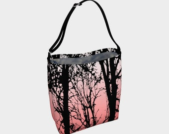 Black and pink fade tree purse, bag, tote