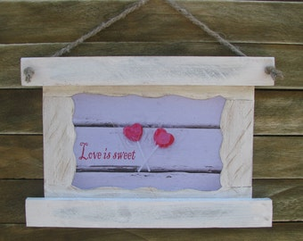Love  Photo With Frame,  Lollipop, Vintage gift, Rustic photo frame