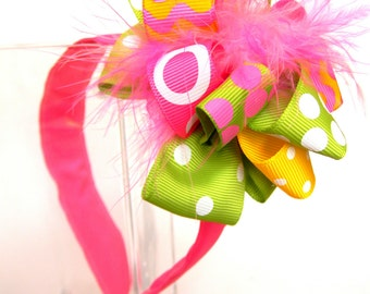 Headbands with Loop Style Bow-Pink Lemonade