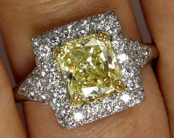 """Estate """"Canary""""  2.56ctw Natural Fancy  YELLOW Radiant Cut Diamond Wedding  Ring in Diamond Halo Pave"""