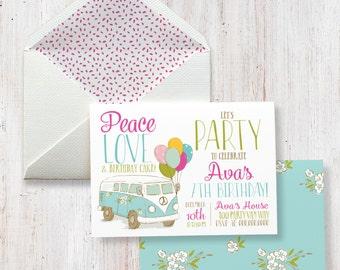 Peace, Love and Birthday Cake, Hippie Van Birthday Party Invitation, Envelope Liner