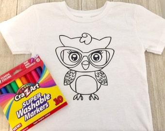 Kids coloring shirt,owl coloring shirts,owl shirts,owls,toddler shirts,coloring shirts,personalized shirts,birthday party,READY TO SHIP