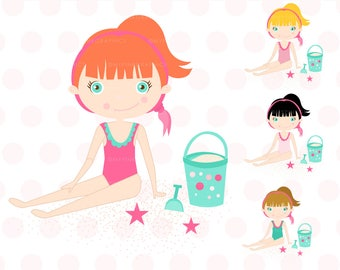 Summer Girl Clipart - girls beach,girls clipart,beach clipart set,summer clipart,character,beach girl clipart, Commercial Use- MPG103