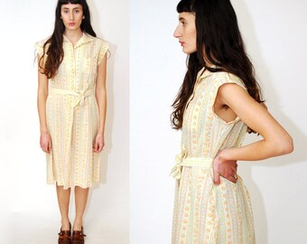 FLORAL SHIFT DRESS (S/M) vintage 60s stripe midi mod gogo go rose orange yellow nature garden short sleeve belt tie small medium womenswear