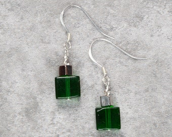 Green Cube Drop Earrings (026)