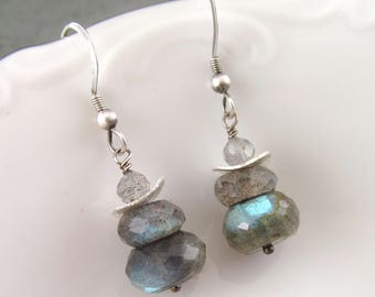 Labradorite earrings, handmade sterling silver stack earrings