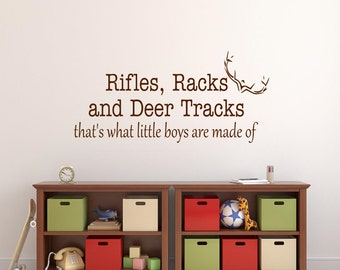 Rifles Racks Deer Tracks Wall Decal Boy Bedroom Vinyl Lettering Playroom Wall Words Boy Cave Decor Boys Room Decor Hunting Hunters Decor