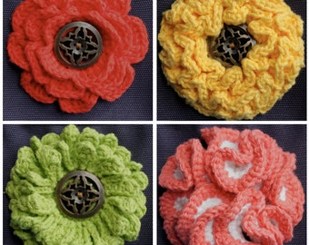 Big Button Interchangeable Flowers (Set 2) - Crochet Pattern - Permission to sell finished items