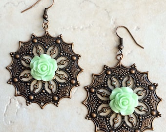 Mint Green Flower Copper Earrings, Southwestern Mint Green Earrings