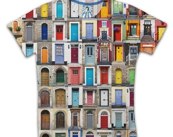 Colorful Doors Funky Cool Funny Fashion Design All Over Print T-shirt