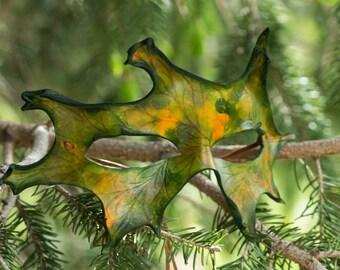 Autumn Oak Leaf Leather Masquerade Mask