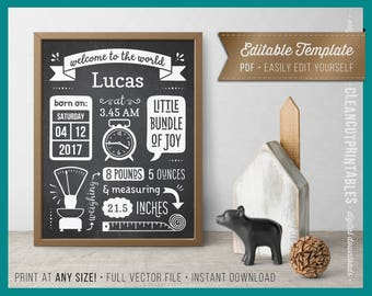 BIRTH ANNOUNCEMENT wall art printable editable pdf template birth stats - chalkboard print sign poster wall art large size instant download