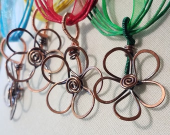 Copper Wire Flower Necklace, Copper necklace, flower, handmade, wire wrapped