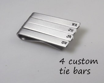 Tie Clip Tie Bar Set of 4 Custom Aluminum Personalized Hand Stamped Groomsman gift Father's Day Choose Phrase Bulk