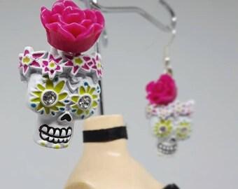 Day of the Dead Flower Skull Earrings
