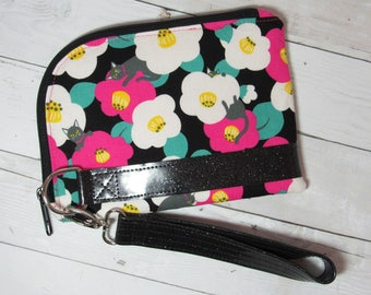 Wristlet or Wallet w/ Detachable Wrist Strap, Japanese Import Fabric, Flowers and Cats / Kitties, Glitter Vinyl, Purse, Clutch, Credit Cards