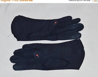 ON SALE: Vintage Ladies' Gloves - Dark Blue with Pink Rosebud Embroidery, Cotton, 1950s, Small