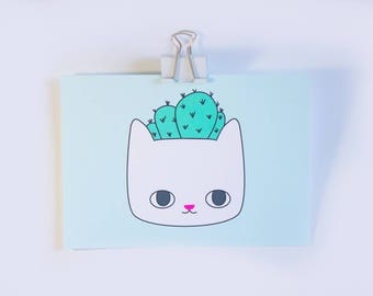 Cactus Cat Print / Cat Art Print / Cactus Art Print / Art Prints / Cacti / Cats / Gift for Cat Lover / Cat Art / Cat Drawing / Cat Gifts