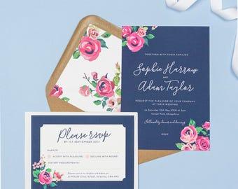 Vintage navy and pink rose Adela wedding invitations