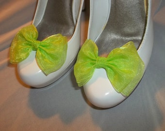 Shoe CLips, Lime Green Chiffon Bow Shoe Clips - Bridal Shoe Clips, Wedding Shoe CLips, Dressy SHoe Clips, Clips for wedding shoes, bridal