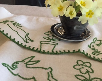 Vintage French Hand Embroidered Shelf Edging Rabbits and Flowers in Pots