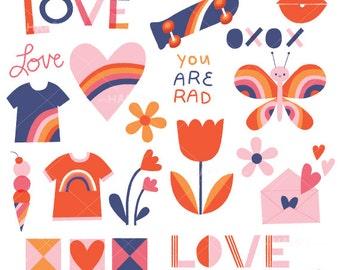 Rad Love Valentine's Clip Art