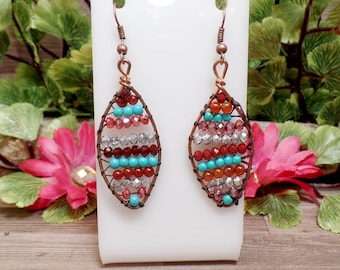 Antique Copper Beaded Earrings - Wire Wrapped Earrings - Bohemian Earrings