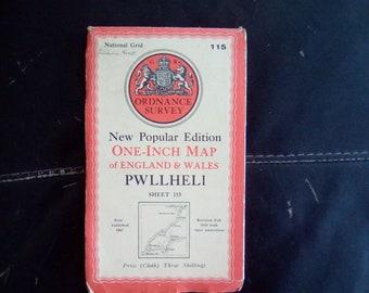 Vintage Cloth Ordnance Survey Map - Pwllheli