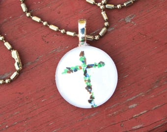 Cross Sea Glass Photo Pendant Round Necklace Beach Sand Ocean