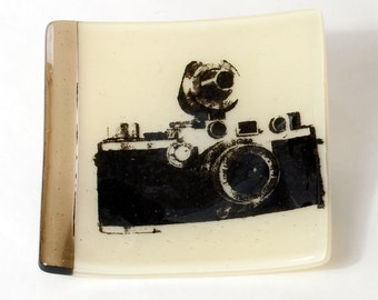 Camera Fused Glass Catch-all Dish