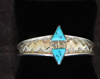 Turquoise and Silver Cuff Bracelet - Southwestern/Boho