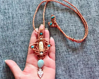 Beautiful necklace brown necklace macrame necklace micro macrame necklace gemstone necklace unique necklace amazonite bone beads  silver