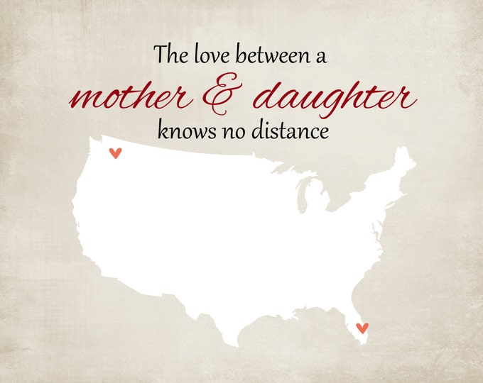 Custom Mothers Day Gift for Grandma Long Distance from daughter Mother Gift Ideas for Mom, Love Knows No Distance, Personalized State Map