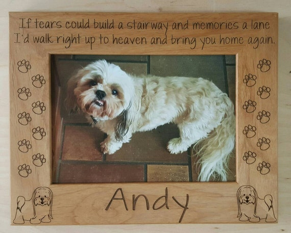 Shih Tzu Dog Memorial Picture Frame 5x7 Pet Custom Laser Engraved ...