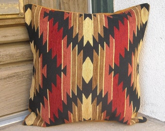 Southwestern Pillow Cover 16 x 16, to 24 x 24. Hardwearing but soft luxurious cover. Taos colors.