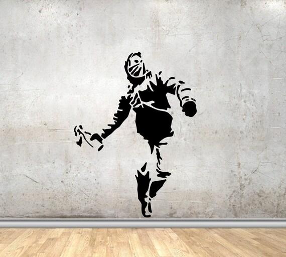 Mann Werfer Molotov Cocktail Banksy Kunst Wand Aufkleber Vinyl