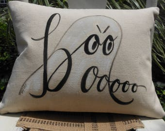 Original hand painted Boooo Halloween pillow cover