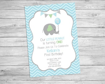 Elephant Birthday Invitation Printable - Elephant Birthday Party Photo Card Invitation