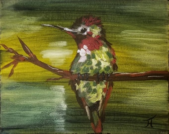 Hummingbird on a Branch, Original painting, acrylic on canvas, 8 x 10