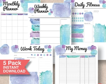 Printable Planner Pack. Planner Pages: Monthly, Weekly, Daily Fitness, Work and Money Tracker. Includes 4 sizes including A5 Insert   #584