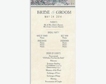 Rustic & Vintage Travel Theme Wedding Program