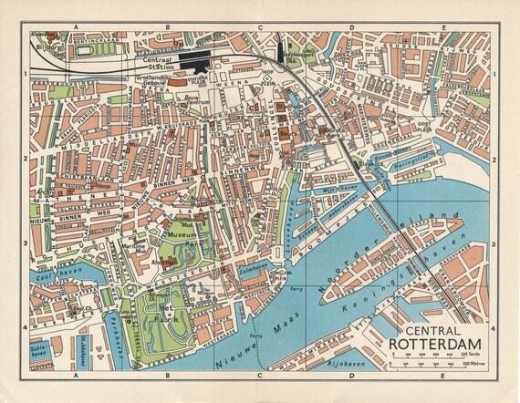 1961 rotterdam netherlands holland vintage map gumiabroncs Gallery