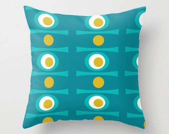 Turquoise Pillow. Mid Century Modern, Home Decor, Decorative Pillows, Throw Pillow, , Geometric, Living Room Decor, Mid Century, Retro